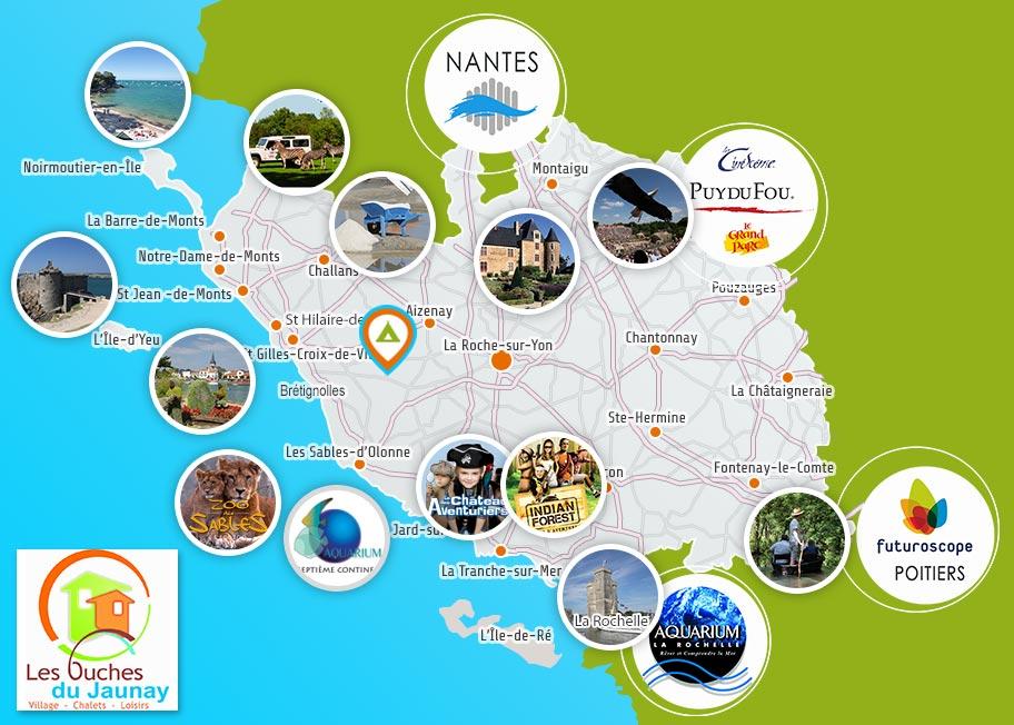 carte de la Vendée - Les Ouches